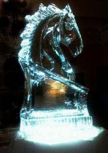 "Our most popular ice sculpture is the horse head sitting 40"" tall by Louisville Ice Sculptures."
