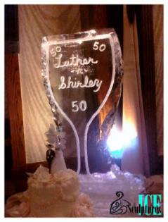 Louisville Ice Sculptures provided a great personalized centerpiece ice sculpture for this 50th wedding anniversary.