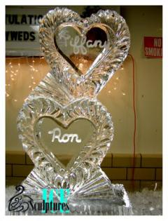 Louisville Ice Sculptures created something quite special for this couple with this wonderful personalized double heart ice sculpture. Price $275